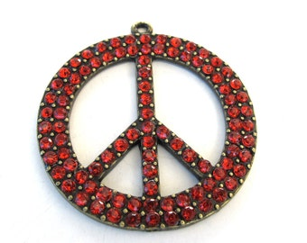 Antiqued Brass, Red Acrylic Jewels, Round Peace Sign 45mm Pendant, 1056-45