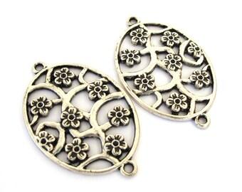 Antiqued Silver Metal Floral Design 45mm x 29mm Oval Links Connectors Set of 2, 1006-13