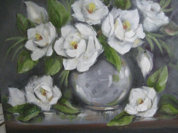 New original oil painting Magnolias White by Carole DeWald