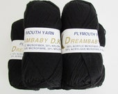 Black Yarn Plymouth DREAMBABY Soft DK weight Jet Black vegan acrylic microfiber and nylon Yarn color 113