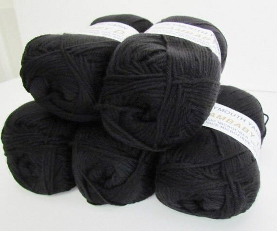 5 Balls Black Yarn Plymouth DREAMBABY Soft DK weight Jet Black vegan acrylic microfiber and nylon Yarn color 113