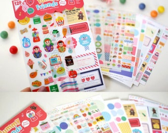 Set of 12 Sheets Yummy Friends Deco Stickers (P171)