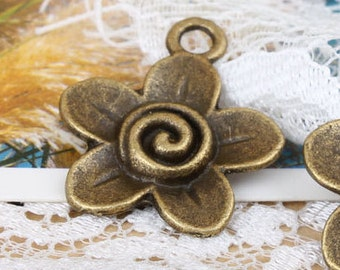 6pcs 19x19mm antique bronze flower charms pendants (J439)