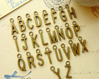 26pcs 5x15mm antique bronze alphabets charms pendants (J412)