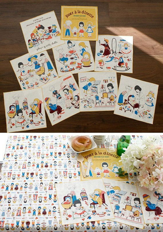 3040 - Korean Kids Playing with Dolls Cotton Linen Blend Fabric - 55 Inch (Width) x 31 Inch (Length)
