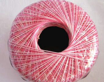 Aunt Lydias Classic Crochet Cotton Thread, SHADED PINKS, size 10, pink white variegated thread