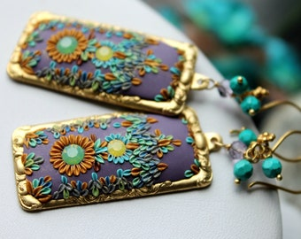 Lavender Lilac Periwinkle and shades of blue clay floral gold earrings -Vintage Brass ornate earrings -  Warm Summer Sunshine
