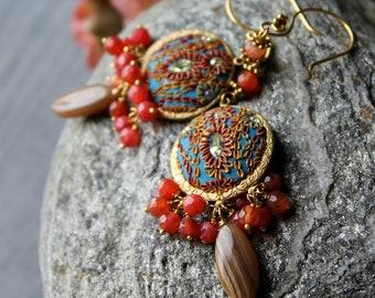 Brown Pink Rhodochrosite, Strawberry Agate earrings in gold - jeweltone Multicolor gold earrings - Golden twilight