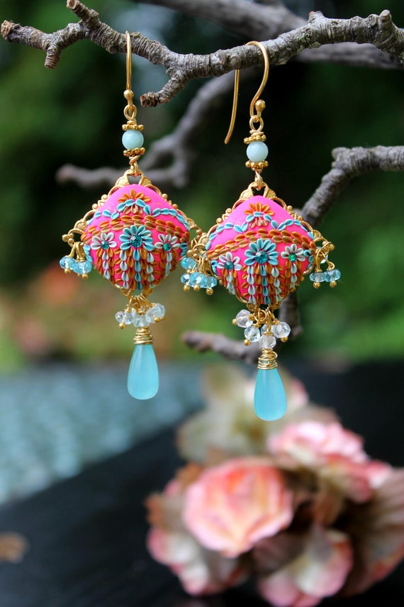 neon colors- Hot Candy Pink and Shades of Blue - Topaz,aquamarine,amazonite  and chalcedony gemstone cluster earrings -  Festival of Kites