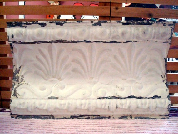 Decorative Antique metal tin ceiling tile Cornice 14 x 24  Crafts Wall Art  no. 311