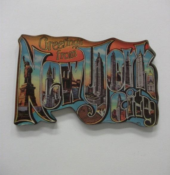 90s Vintage New York Postcard Style Fridge magnet