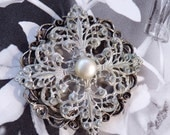 Silver Brooch with Pearl Vintage Glass Wedding Accessory