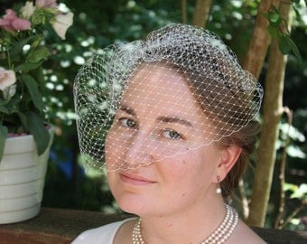 "WEDDING VEIL - small birdcage Bridal Veil  in 9"" Russian veiling"