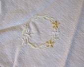 Vintage Linens - Embroidered Doily - Yellow Flowers