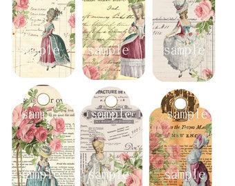 Instant Download - Marie Antoinette 99a -  Printable Digital Collage Sheet - Digital Download