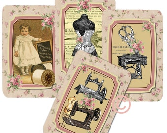 Instant Download - Sewing No. 722 - High quality - High quality Collage Sheet - Printable Download - Gift Tags - Scrapbook
