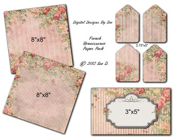 Instant Download  -French Renaissance Paper Pack  - High quality Collage Sheet - Printable Download - Gift Tags - Scrapbook