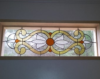 """Stained Glass Window / """"Victorian Flowers"""" (W-30)"""