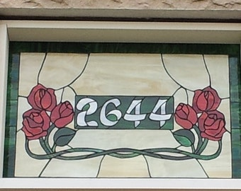 Stained glass Transom - Opal Roses (TW-46)