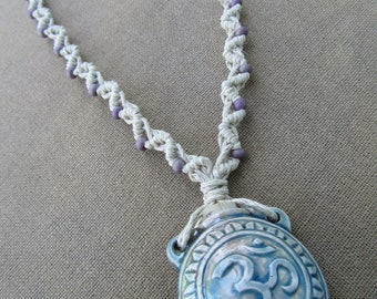 SALE Clay Om Bottle with Glass Hemp Macrame Necklace - Natural Hippie Bohemian