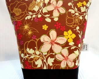 Insulated Lunch Bag - Brown, Pink, Yellow, Green, White Floral Swirl