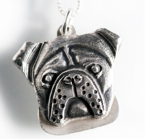 bulldog necklace jewelry sterling silver pendant