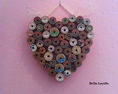 Vintage Wooden Sewing Thread Spools Pink Red Blue Orange Green Teal Heart Shaped Wall Art