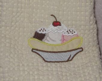 Kitchen Towel with Banana Split Applique