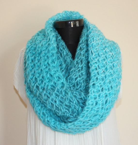 Multicolor Turquoise Angora Mohair Blend Large Loop SCARF- Ready to Ship