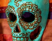 Day of the Dead Dia de los Muertos Turquoise Heart Mask
