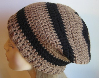 Cafe and Black Slouchy Beanie Dread Tam Hat
