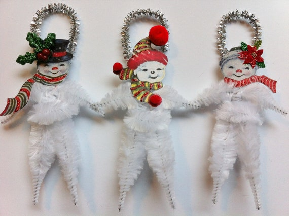 SNOWMAN sweet family CHRISTMAS vintage style chenille ORNAMENTS set of 3