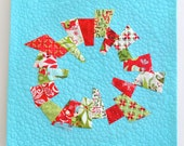 """Mod Christmas Wreath Quilted Wallhanging, 21"""" square"""