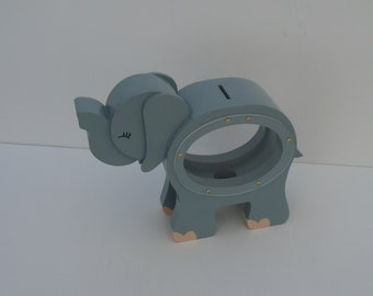 Wood Piggy Bank - Grey Elephant