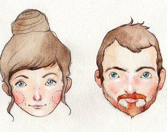 Personalized Watercolor Portrait / Original Art