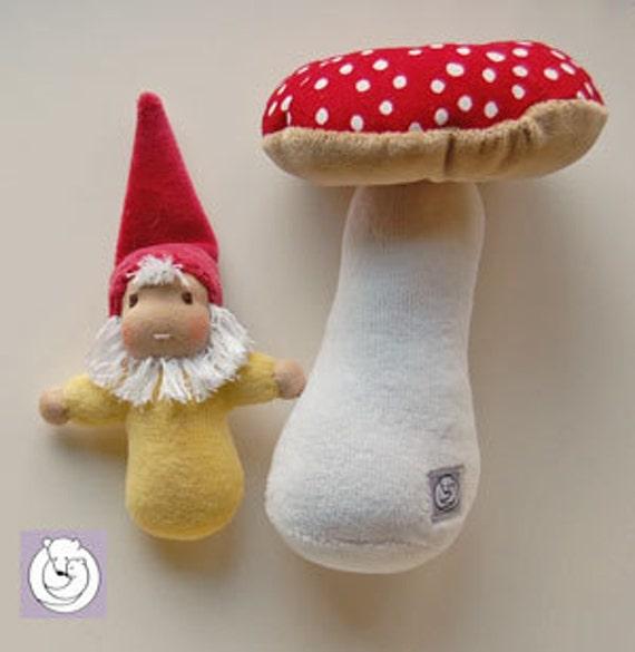 Waldorf inspired Pocket Gnome with Mushroom Set
