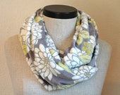 Cuddly Minky Scarf in Gray and Yellow