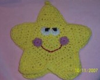 Crochet- Yellow Star Bath Mitt - Great Puppet or Wash cloth!!!