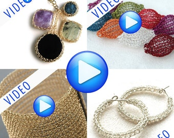 Wire crochet patterns combo PDF instructions Online VIDEO tutorial step by step wire jewelry crochet Cuff bracelet  Cabochon Pixie Beads