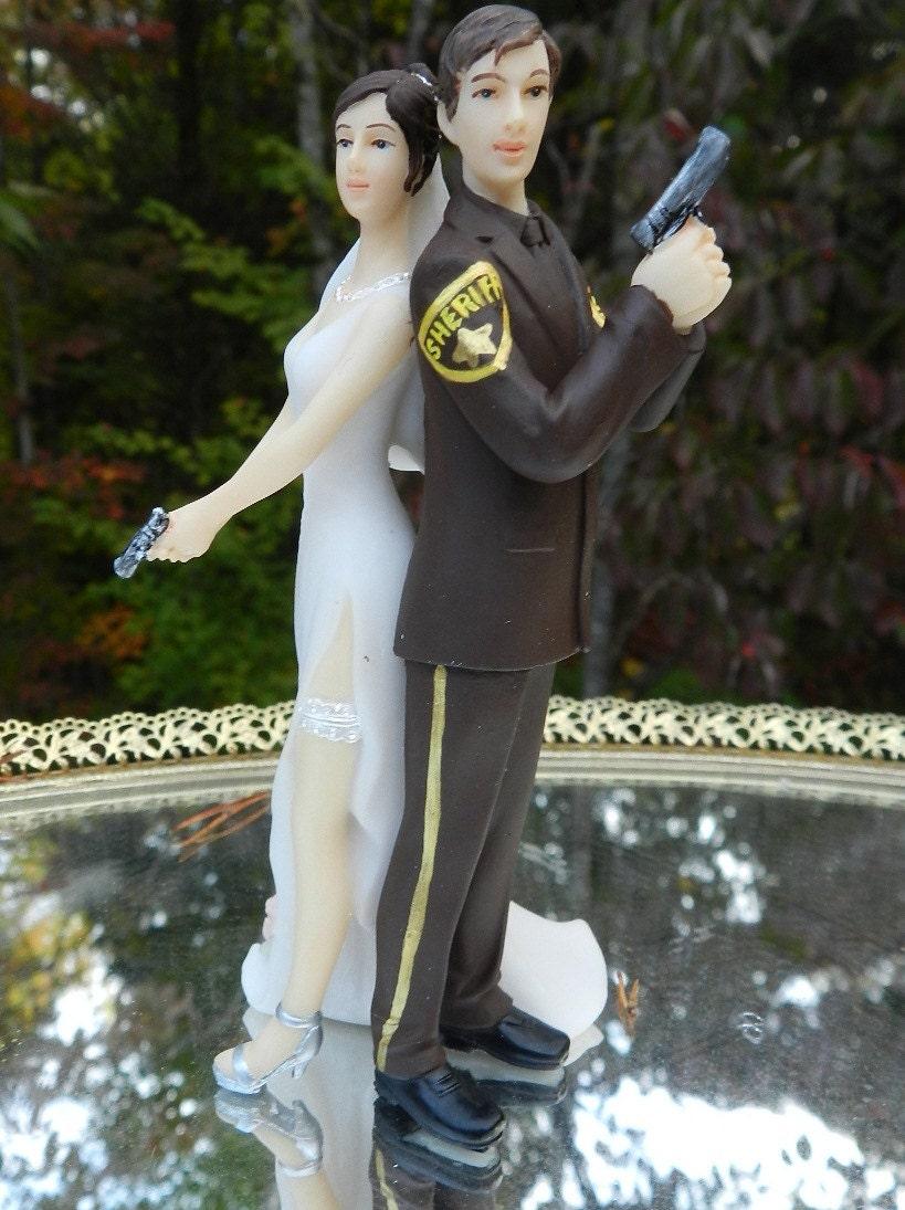 Deputy Sheriff Bride Groom Guns Wedding Cake By Carolinacarla
