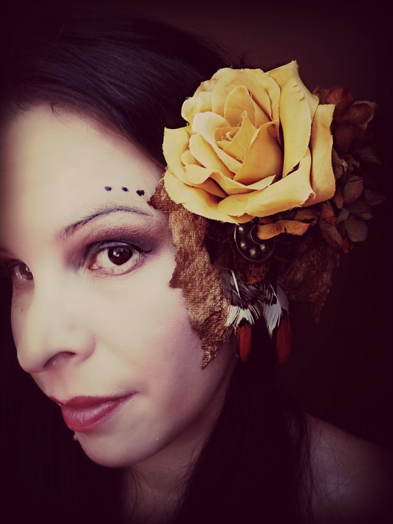 Tribal Fusion Belly Dance Hair Clip with Autumn Yellow Rose