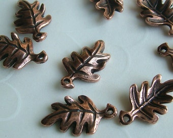 Fall Selected -- 12 PCS Double Sided Oak Leaf Charms in Antique Copper color -- 16x10mm