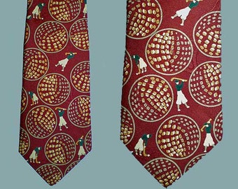 Vintage 90s Golf Novelty Print Polo Silk Tie