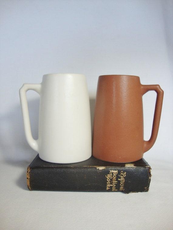 2 vintage large hyalin stoneware mugs