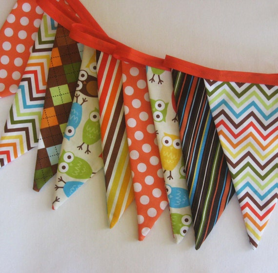 Urban Owls Fabric Bunting Banner - Party Flags or Room Decor
