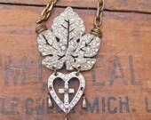 Statement Necklace Antique  Rhinestone Bib Necklace Brass Wire Wrap Jewelry DanielleRoseBean Black Friday Etsy Sale