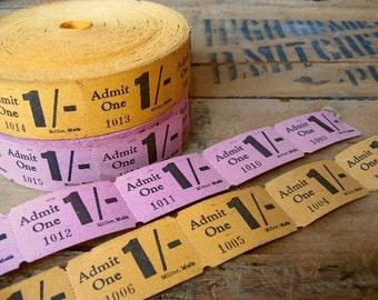 vintage tickets - theatre cinema - pink and orange - pre-decimal tickets - 20