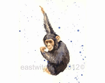 BABY MONKEY Print, chimp art