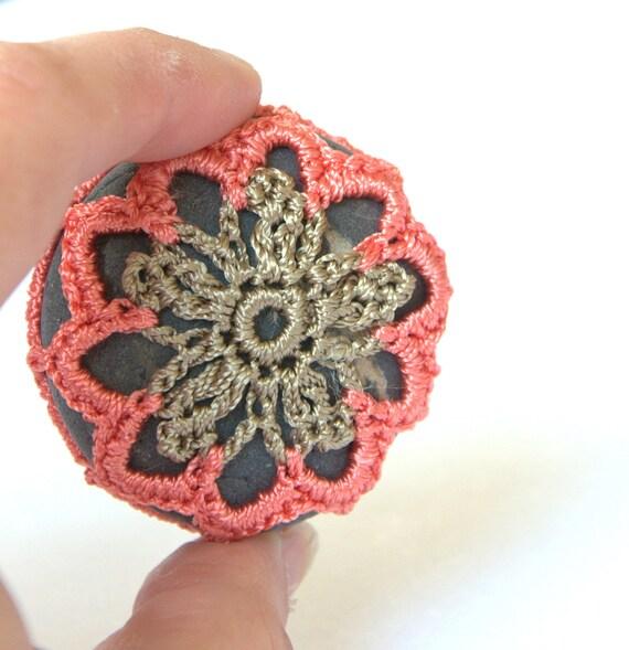 Lace stone home decor beach pebble Weddings favors orange olive crochet flower sea handmade gift for her Birthday