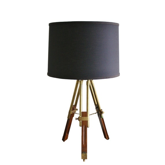 Vintage wood and brass tripod table lamp